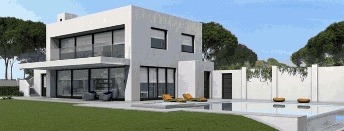 Nuevas villas o chalets modernos construyen sobre plano en for Planos de chalets modernos