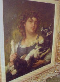 'Dorfmädchen mit Ziege' vom französischen Maler Gustav Courbet.