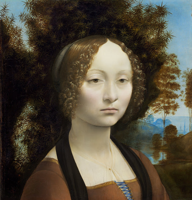 Leonardo da Vinci, Portrait of Ginevra de' Benci, 1474-78, Oil on wood, 38,8 x 36,7 cm, National Gallery of Art, Washington.