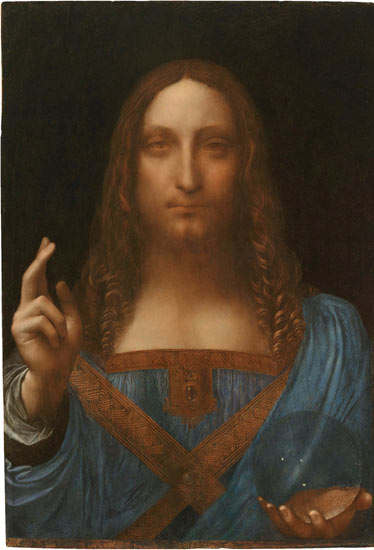 Leonardo da Vinci, Salvator Mundi (Savior of the World), c.1500, oil on a wood panel, 26 x 18 ½ inches