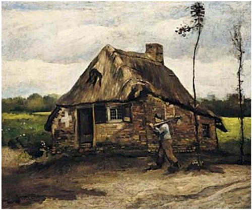 Cottage with peasant, Vincent van Gogh, 1885